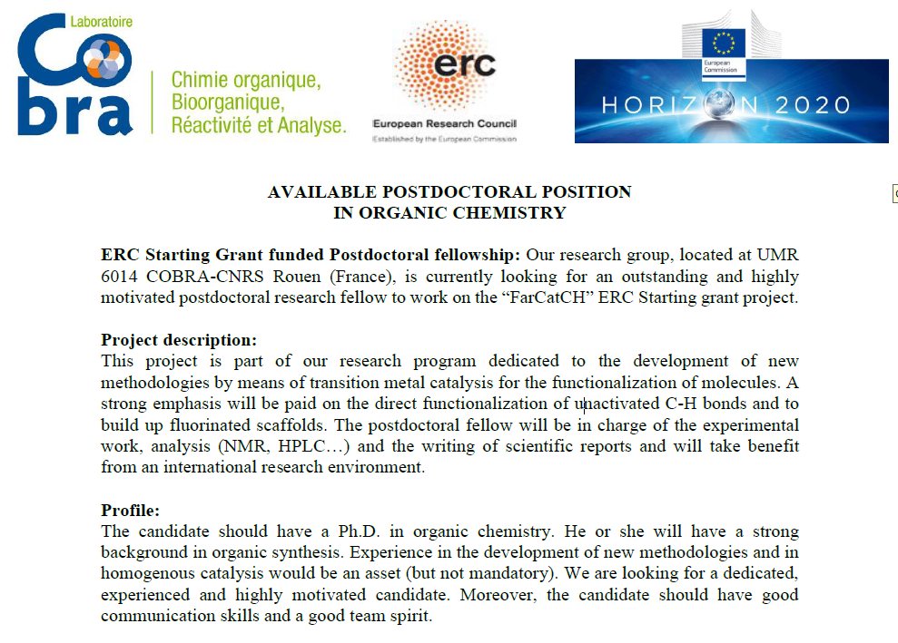 AVAILABLE POSTDOCTORAL POSITION IN ORGANIC CHEMISTRY ERC